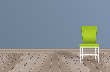 Empty room, blue wall, wooden floor and chair.