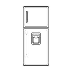 outline kitchen refrigerator illustration.