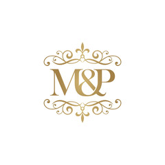 M&P Initial logo. Ornament ampersand monogram golden logo