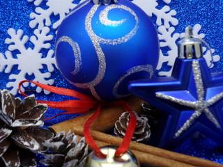 Blue Xmas background, Ornaments on blue glitter
