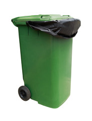 Green garbage bin isolated on white background with clipping path