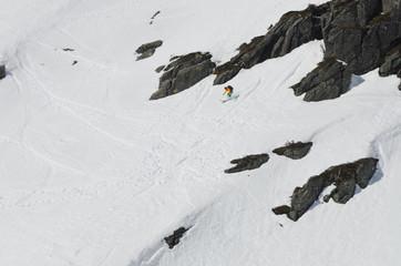 extreme free skier on a high mountain