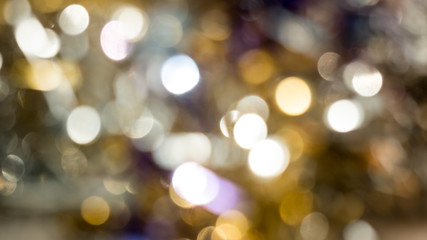 Abstract yellow violet bokeh circles for Christmas background