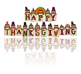 happy thanksgiving with reflection