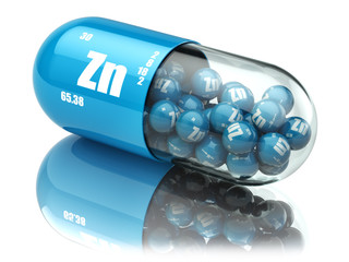 Pills with zinc Zn element Dietary supplements. Vitamin capsules