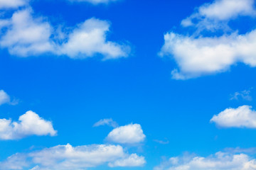 Door stickers Heaven blue sky with white fluffy clouds background