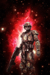 Wall Mural - futuristic space trooper soldier