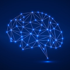 Abstract polygonal brain with glowing dots and lines, network connections