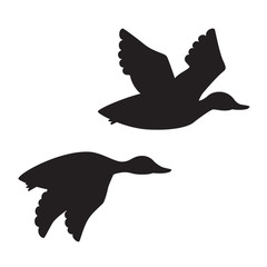 Black duck (cartoon style) silhouette vector isolated