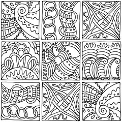 Seamless black and white pattern in the style of zentangle, consists of nine squares with different ornaments, handmade