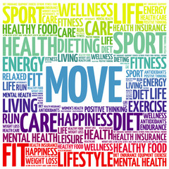 MOVE word cloud background, health concept