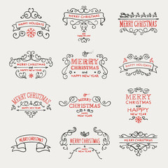Vector Illustration of Calligraphic and Typographic Christmas Design Elements