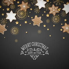 Vector Illustration of a Christmas Greeting Card with Cookies