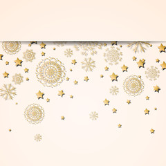 Vector Illustration of a Decorative Christmas Design with Golden Snowflakes and Stars