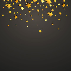 Vector Illustration of a Decorative Christmas Background with Golden Stars