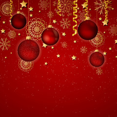Vector Illustration of a Decorative Christmas Background with Baubles