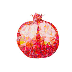 Low poly watercolor pomegranate