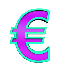 Euro sign from purple glass with blue frame alphabet set, isolated on white. Computer generated 3D photo rendering.