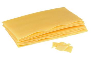 Raw Lasagna Pasta Isolated on White Background