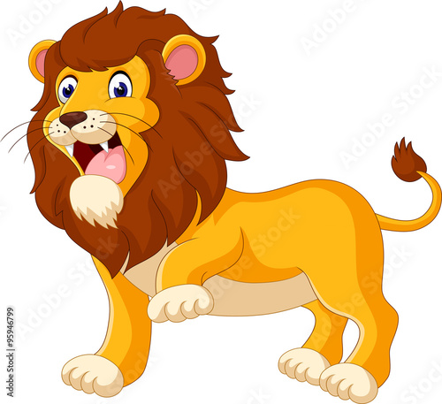 Cute lion cartoon of illustration