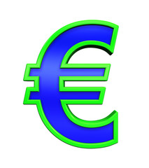 Euro sign from blue glass with green frame alphabet set, isolated on white. Computer generated 3D photo rendering.