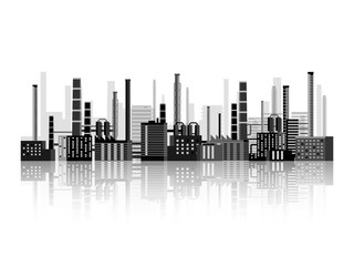 Vector illustration. Industry. Power plant. Factory. Industrial silhouettes. Engineering, construction. Gas and oil
