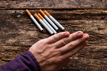 man refuses to cigarettes and smoking