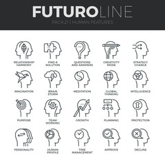 Human Features Futuro Line Icons Set