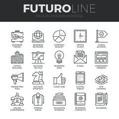 Modern Business Futuro Line Icons Set
