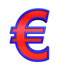 Euro sign from red glass with blue frame alphabet set, isolated on white. Computer generated 3D photo rendering.
