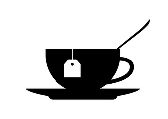 Tea cup icon on white background