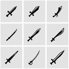 Vector black sword icon set. Sword Icon Object,  Sword Icon Picture, Sword Icon Image - stock vector