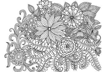 Doodle flowers in black and white