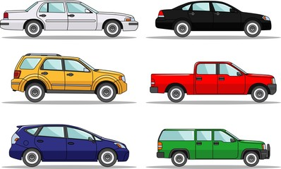 Set of six colored cars isolated on white background in flat style