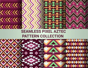 Collection of bright seamless pixel patterns in tribal style. Aztec geometric triangle and chevron patterns.