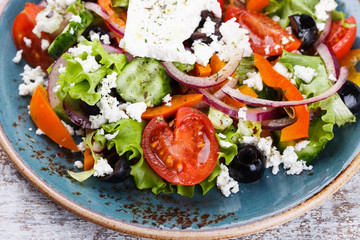 Greek salad , feta cheese.selective focus