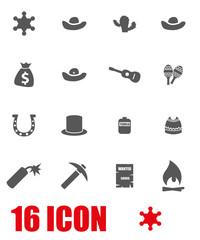 Vector grey wild west icon set. Wild West Icon Object,  Wild West Icon Picture, Wild West Icon Image - stock vector