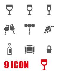 Vector grey wine icon set. Wine Icon Object,  Wine Icon Picture, Wine Icon Image - stock vector