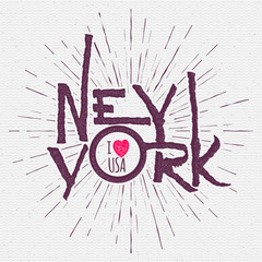 Vintage Hand lettered textured New York city t shirt apparel fashion print