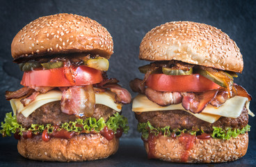 Two beef burgers
