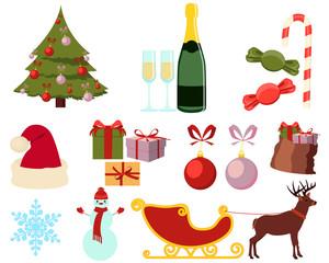 Set of flat Christmas icons isolated on white background. Vector illustration