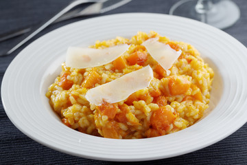 Pumpkin risotto with Parmesan cheese