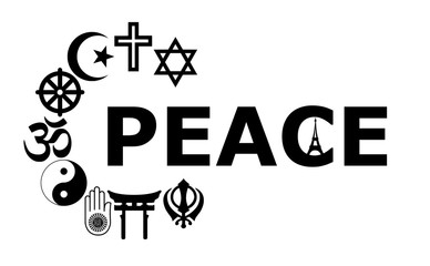 Peace with Religious symbols and Eiffel Tower