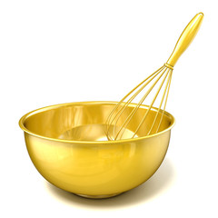 Golden bowl with a wire whisk. 3D rendering illustration isolated on white background