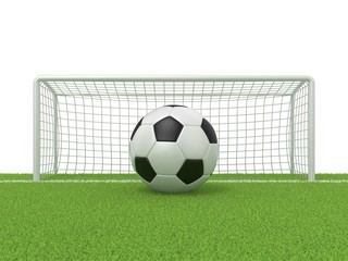 Football - soccer ball in front of goal gate on grass. 3D render illustration isolated on white background