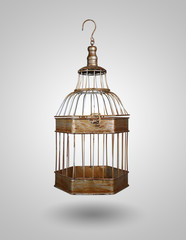 vintage bird cage on gray background