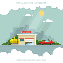 Car on the background of the city. Flat vector illustration