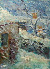 Oil painting of winter landscape with little house wind blowing the snow from roof