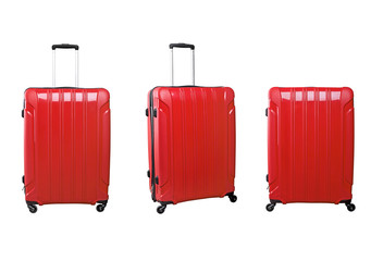 Set of red travel bags on wheels in different angles. Isolated on white background