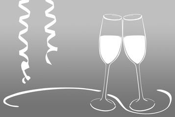 Sektgläser - anstoßen / Silvester / Neujahr / feiern
